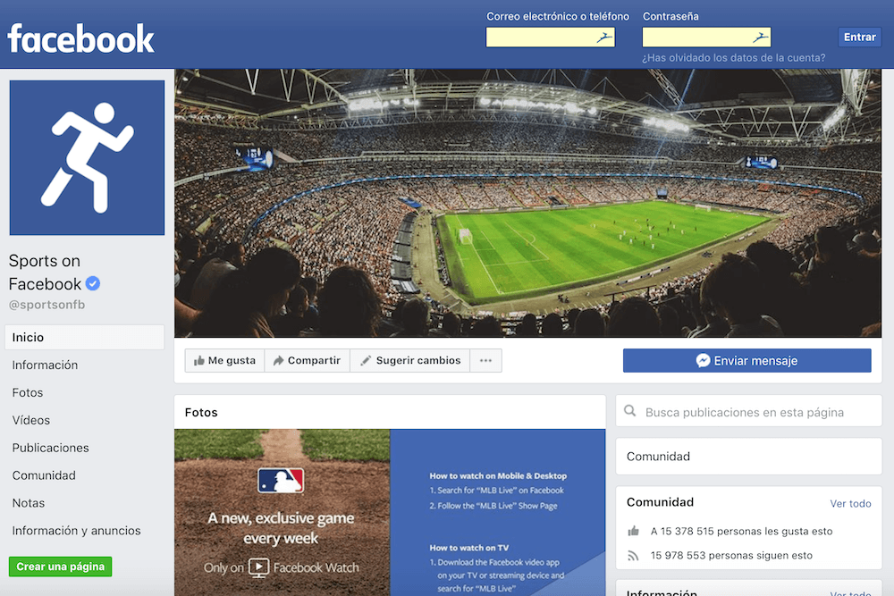 facebook sports